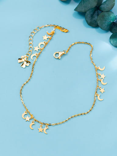 Elegant Gold Plated Moon Shaped S925 Silver Foot Jewelry
