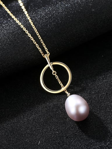 Sterling Silver Natural Pearl Necklace with three colors optional