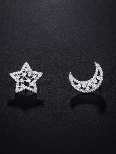 Copper With Platinum Plated Cute Asymmetry Star Moon  Stud Earrings