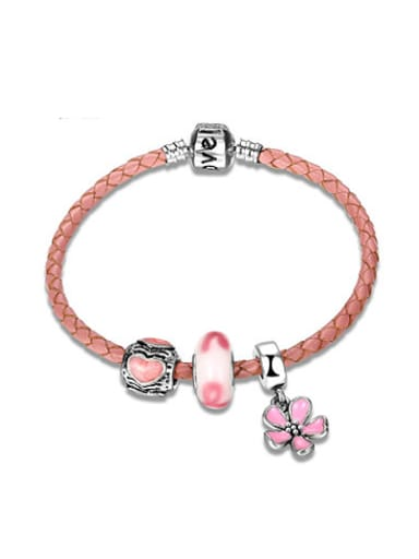 Pink Flower Shaped Artificial Leather Enamel Bracelet
