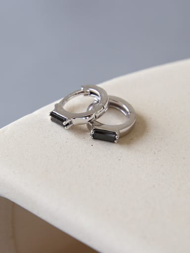 Sterling Silver Black Square zircons Mini ear buckle
