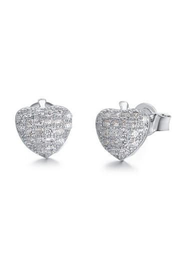 Tiny Cubic Zirconias-covered Heart 925 Silver Stud Earrings