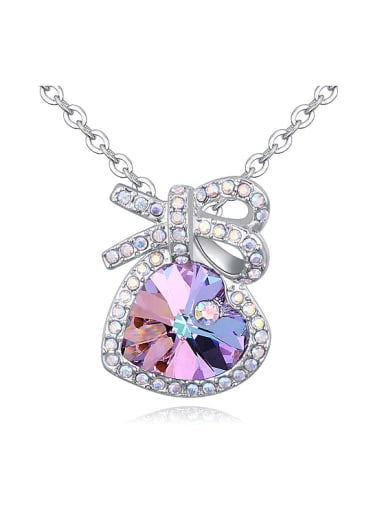 Fashion Cubic Swarovski Crystals Bowknot Heart Pendant Alloy Necklace