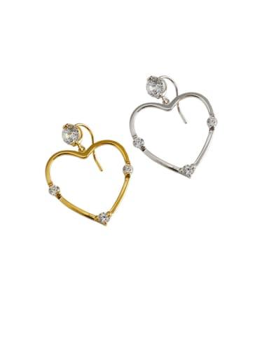 925 Sterling Silver With  Cubic Zirconia Simplistic Heart Drop Earrings