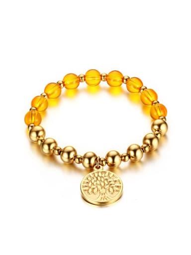 Trendy Gold Plated Tag Shaped Stones Titanium Braceley