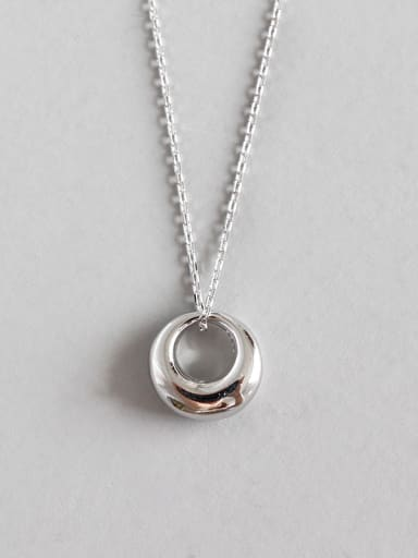 Sterling Silver Fashion Minimalist Round Short Necklace