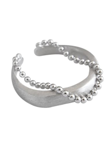 925 Sterling Silver With  Beads Lrregular Double bead chain Free Size  Rings