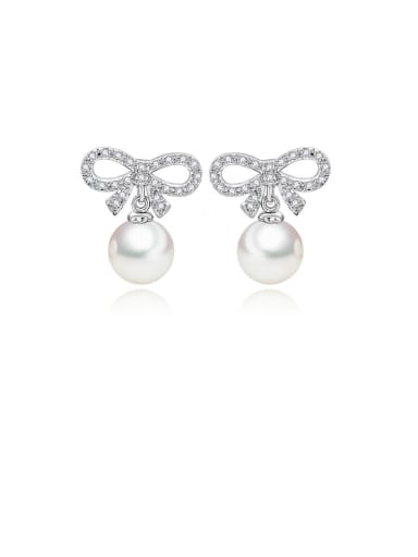 Copper With Platinum Plated Simplistic Bowknot Stud Earrings