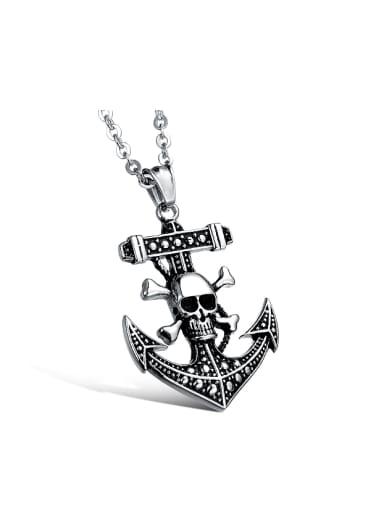 Punk style Ship Anchor Skull Titanium Necklace