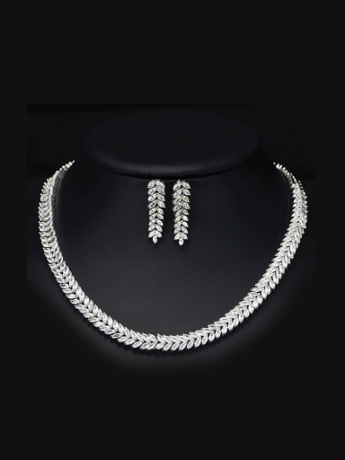 Party Leaves-shape Zircon Two Pieces Jewelry Set