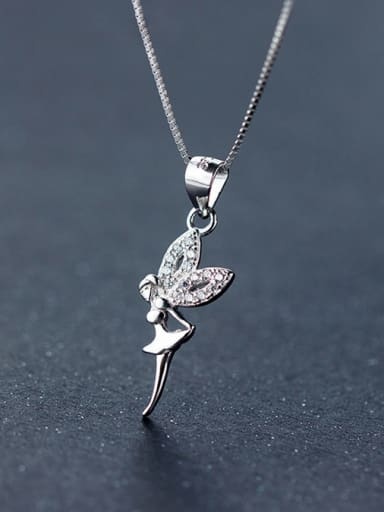 S925 silver beautiful angel zircon necklace