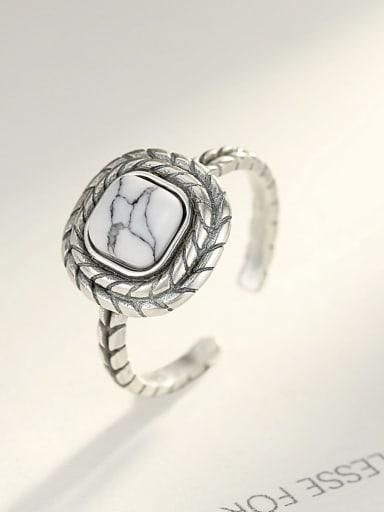 Thai silver retro square white turquoise free size ring