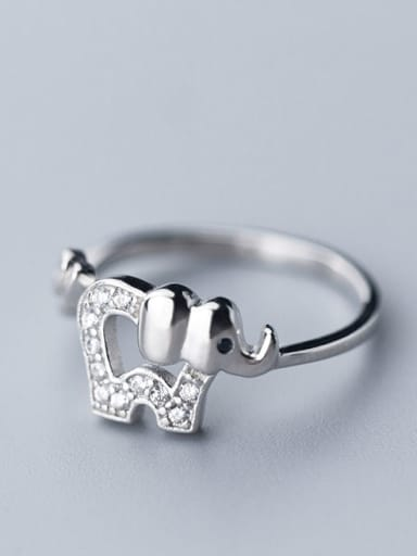 925 Sterling Silver With Platinum Plated Cute Elephant Free Size Rings
