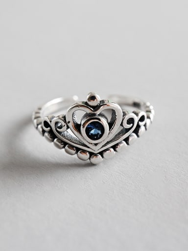 Sterling silver retro hollow heart free size ring