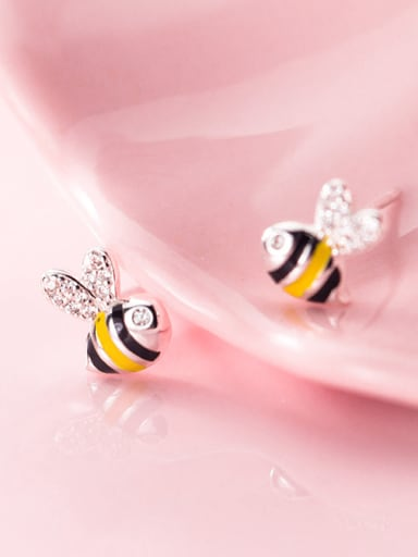 925 Sterling Silver With Silver Plated Cute Bee Stud Earrings