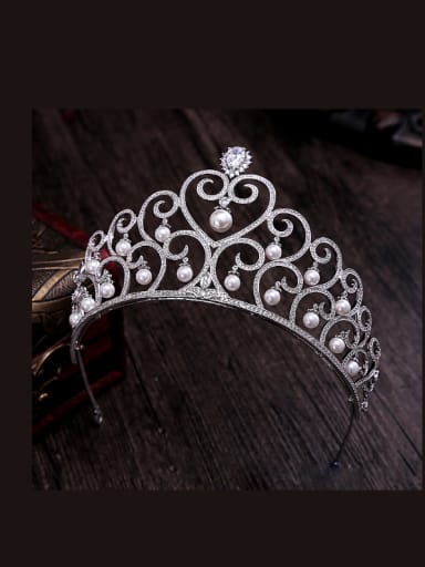 Hollow Heart Pattern Micro Pave Zircons White Hair Accessories