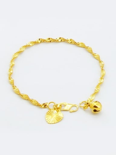 Women Elegant Water Wave Design 24K Gold Plated Bracelet