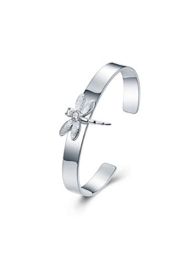 Simple Dragonfly Silver Plated Bangle