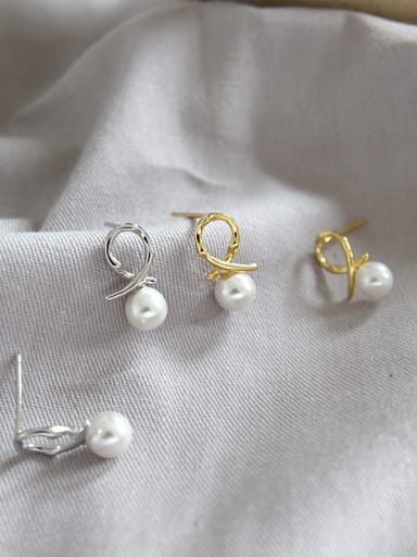 Sterling silver knot imitation pearl Mini earrings