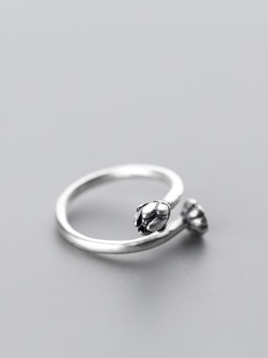 Fresh Open Design Bud Shaped S925 Silver Ring