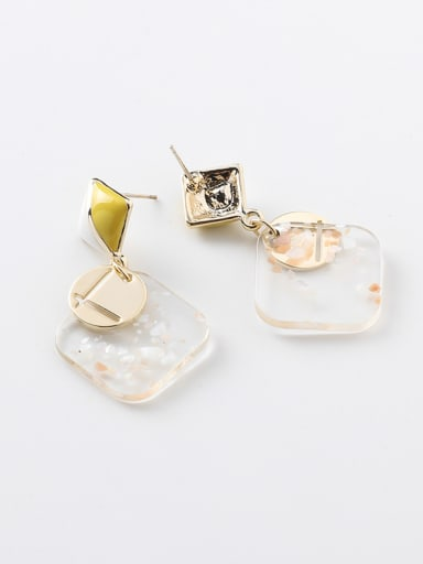 Alloy With Acrylic Simplistic Square Drop Earrings