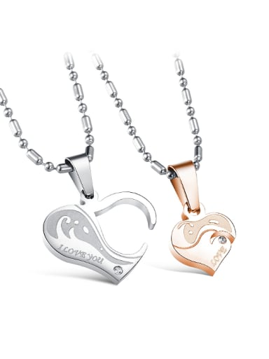 Personalized Combined Heart shaped Titanium Lovers Necklace