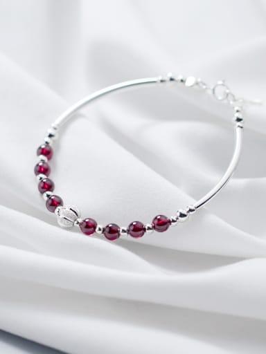 Simple garnet 925 silver bracelet