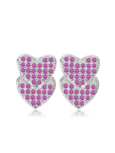 Double Heart-shape Amethyst Stud Earrings