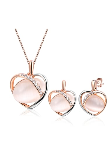 All-match Heart Shaped Rose Gold Plated Opal Two Pieces Jewelry Set