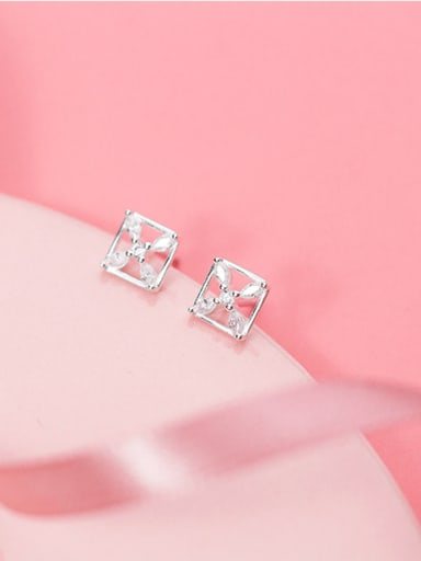 Temperament Square Shaped Zircon S925 Silver Stud Earrings