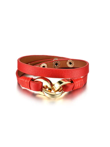 Personalized Two-band Red Artificial Leather Bracelet