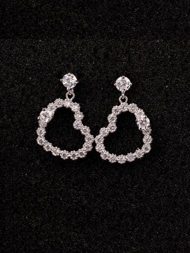 Love Heart 925 Silver Zircon cuff earring