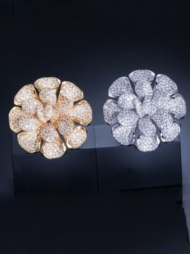 Copper With Cubic Zirconia Luxury Flower Band Rings