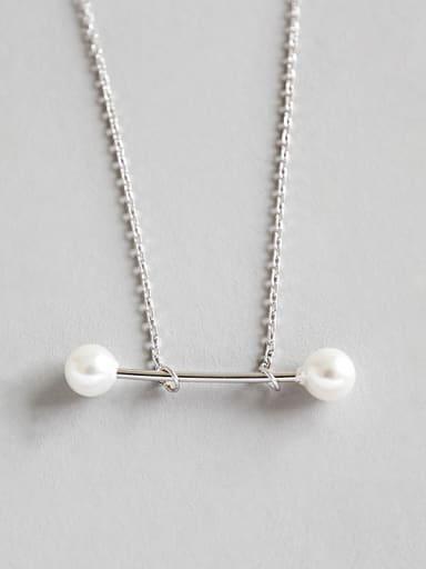Pure silver fashion geometric elements minimalist Pearl Pendant Necklace