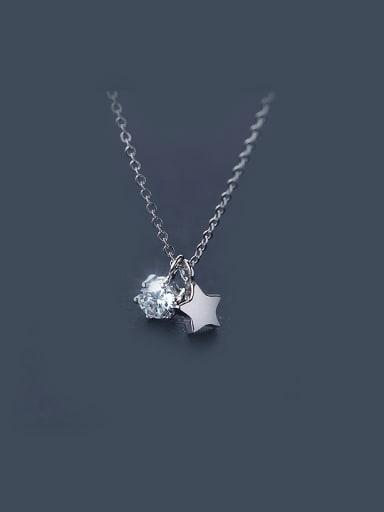 S925 Silver zircon Star Sweet Short Necklace