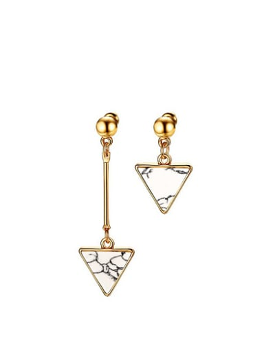 All-match Triangle Shaped Stone Asymmetric Titanium Drop Earrings