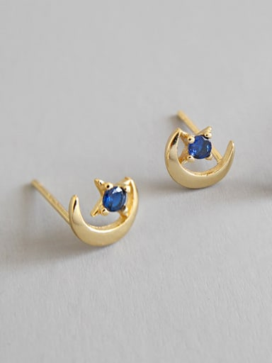 925 Sterling Silver With 18k Gold Plated Simplistic Star Stud Earrings