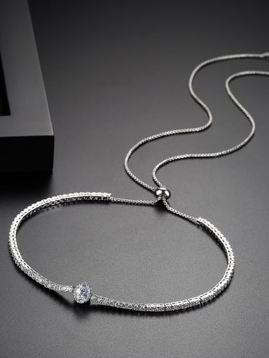 New Copper Inlay AAA Zircon Minimal Shine Telescopic Necklace
