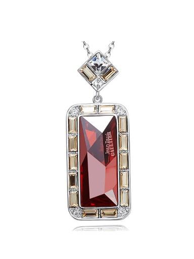 Fashion Rectangular Swarovski Crystal Pendant Copper Necklace