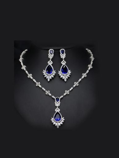2018 Color Semi-Precious Stones Two Pieces Jewelry Set