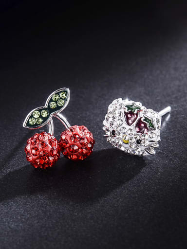 New kitty cats Cherry lovable unsymmetrical  Earrings