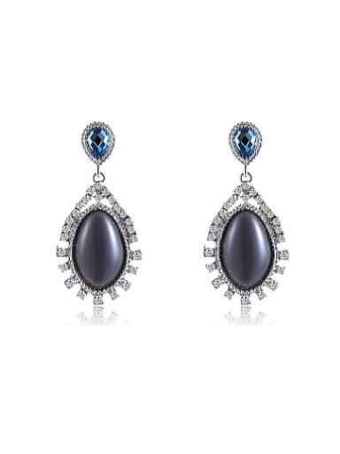 Exquisite Black Oval Shaped Opal Drop Earrings