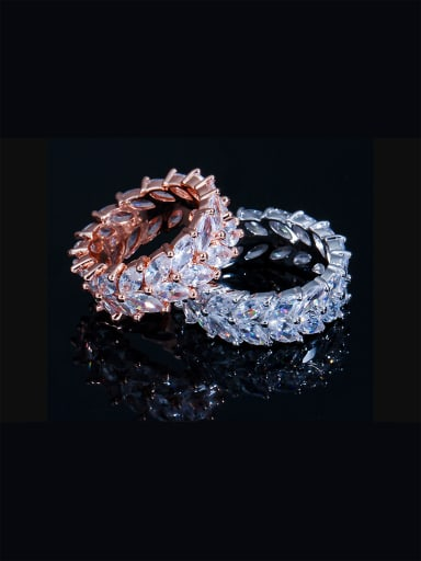 Copper inlaid AAA zircon bling-bling rings