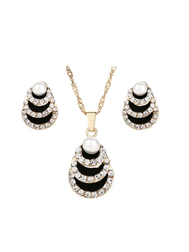 Fashion Artificial Peals Cubic Rhinestones Alloy Two Pieces Jewelry Set