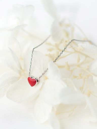 Elegant Red Heart Shaped Glue S925 Silver Necklace