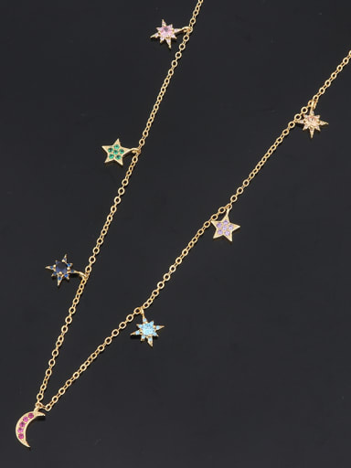 Copper With Cubic Zirconia Fashion Star Beaded Necklaces