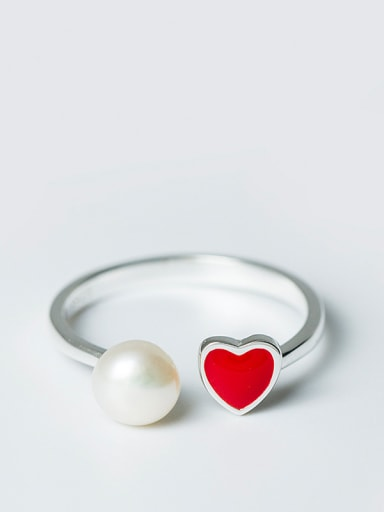 Fashion Red Heart Artificial Pearl Opening 925 Silver Ring
