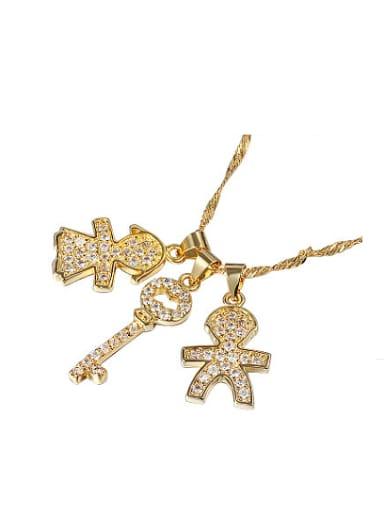 Creative 18K Gold Key Shaped Zircon Necklace