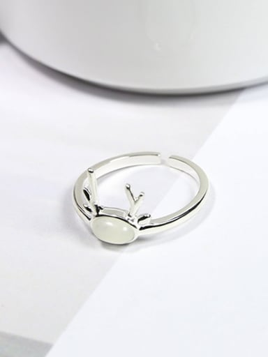 Simple Tiny Deer Antlers White Opal Stone 925 Silver Ring
