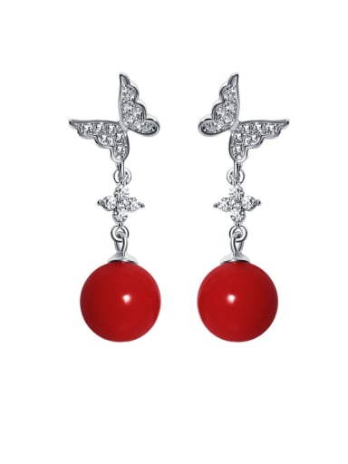 925 Sterling Silver With  Shell Trendy Bowknot Drop Earrings